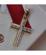 YELLOW GOLD CROSS K14  3.50 GR WITH CRYSTALS 512774030010