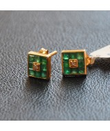 WHITE GOLD EARRINGS K18 1.60 GR WITH BRILLIANT 0.2 ct AND EMERALDS 0.98 ct 010082040011