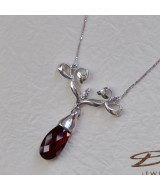 WHITE GOLD PENDANT K18  8.5GR WITH BRILLIANT 0.06 ct AND GARNET 514708030010