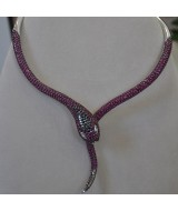 WHITE GOLD NECKLACE K18 105.10 GR WITH BRILLIANTS 2.65 ct AND RUBIES 29.26 ct KG00017