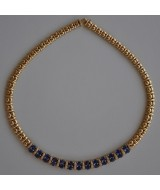 GOLD NECKLACE K18   61.90 GR WITH BRILLIANTS 0.71 ct AND SAPPHIRES 11.93 ct KG00267