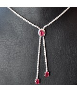 WHITE GOLD NECKLACE  K18   22.30 GR WITH BRILLIANTS 8.08 ct AND RUBIES 3.48 ct KG00592