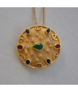 YELLOW GOLD PENDANT/PIN K18  13.00 GR WITH BRILLIANTS 0.16 ct  AND SAPPHIRES/RUBIES/EMERALD 2.45 ct MB00002