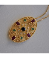 YELLOW GOLD PENDANT/PIN K18  20.30 GR WITH BRILLIANTS 0.18 ct  AND SAPPHIRE/RUBIES/EMERALDS 6.20 ct MB00003