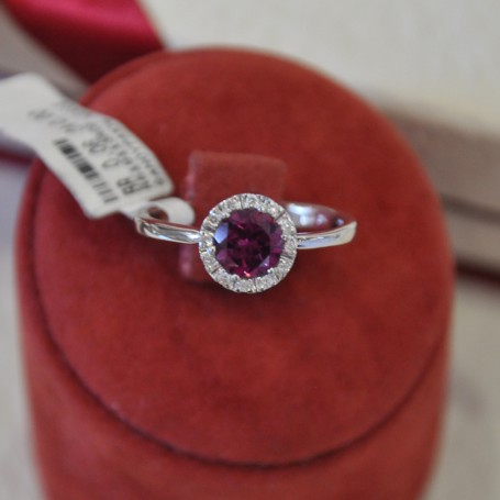 WHITE GOLD RING K18 3.80 GR WITH BRILLIANTS 0.06 ct AND GARNET DG01285