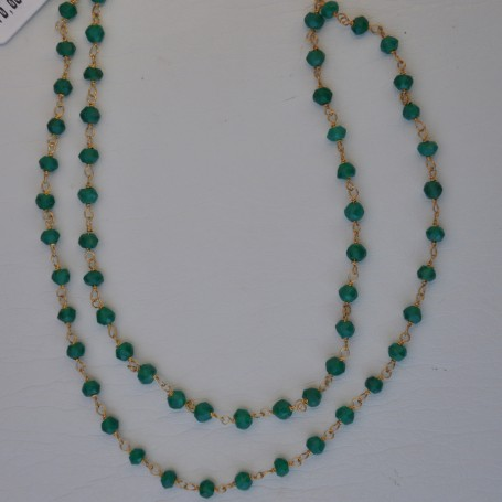 SILVER NECKLACE 925 WITH MALACHITE 4.90GR KG00629