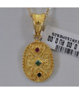 SILVER 925 GOLD PLATED 3.30 GR WITH RUBY/EMERALD/SAPPHIRE MG01208