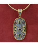 SILVER PENDANT 925 11.60 GR WITH EMERALDS AND SAPPHIRE MG01220